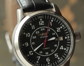 "POLJOT""Aviator"" mechanical soviet men's wrist watch 2614.2N"
