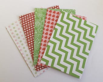 Snail mail envelopes patterned, party envelopes, letter writing, stationery, red and green, handmade, set of 5