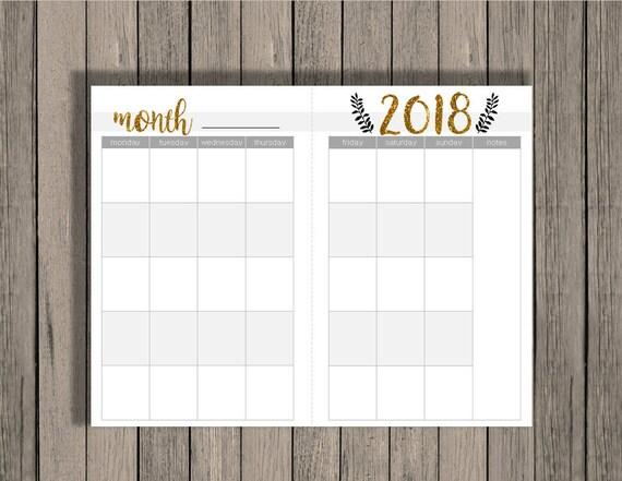 Blank Calendar Half Page : Chaosmadesimple