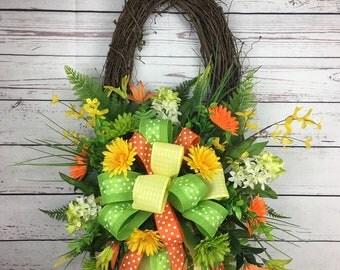Oval grapevine wreath , spring wreath , daisy wreath, green, yellow , orange
