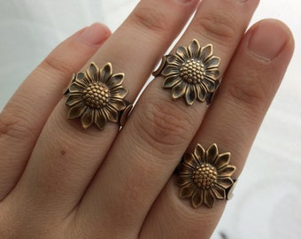 Size 8 Sunflower & Moons Sterling Silver Ring