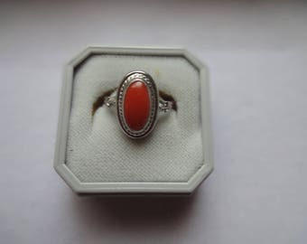 SILVER AND CORAL Ring