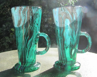 Green and Black Marbled Latte Glasses