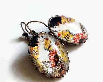 Earrings * fan Lady * Gustav Klimt art nouveau, yellow, glass cabochons