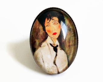 """ring """"Modigliani"""" painting portrait woman beige Brown, glass cabochon"""