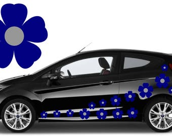 32, Blue & silver flower car decals,stickers in three sizes