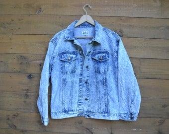 1980's Acid Wash Denim Jacket by brand: the Jack Set Size Medium Made in Indonesia