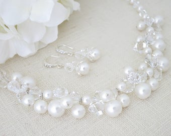 Pearl wedding set, Statement bridal necklace and earring, Swarovski crystal and pearl cluster necklace, Unique wedding necklace set