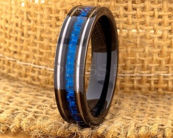 Tungsten Ring Tungsten Wedding Ring Men Women Wedding Band Blue Carbon Fiber Ring Flat Promise Anniversary Engagement 6mm Matching Ring Set