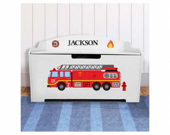 Personalized Dibsies Modern Expressions Firetruck Toy Box