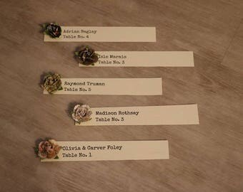 """Wedding Place Card with Vintage Paper Flower, Flat Place Card - 1 x 4"""""""