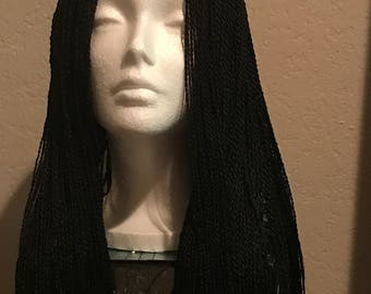 Handmade Realistic Lace Part Braid Wigs: LEFT SIDE PART