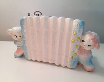 Vintage Ceramic Accordion Baby Music Box Planter for Nursery - Plays Mary Had a Little Lamb