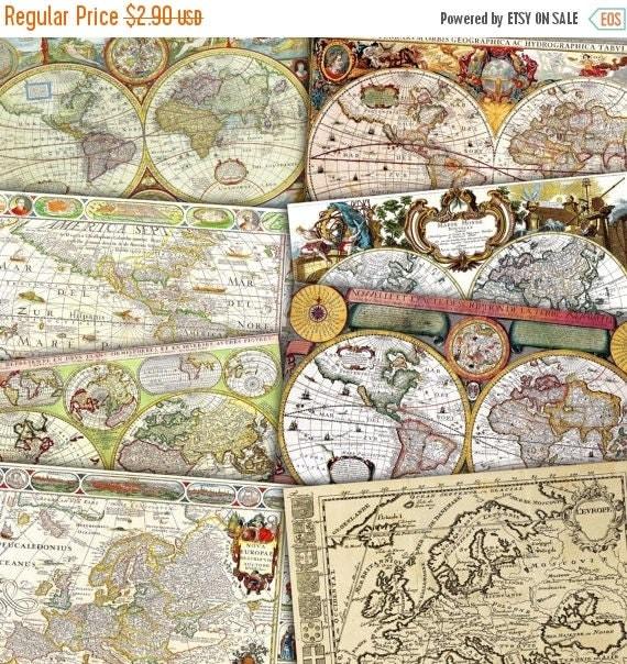 40 Off Sale Vintage Maps Digital Paper World Europe America