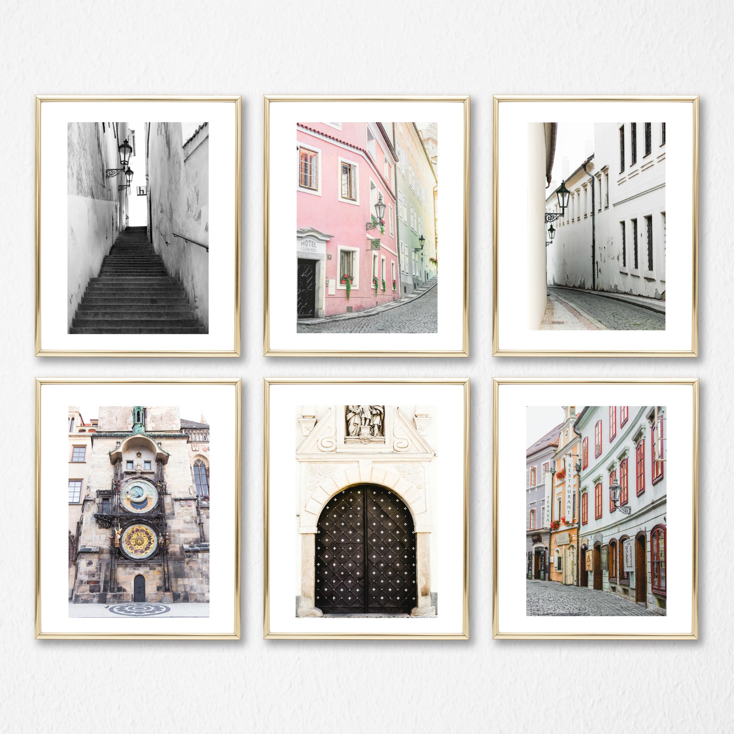 Gallery Wall Set room decor prints set, blush decor art set of 6, prague prints