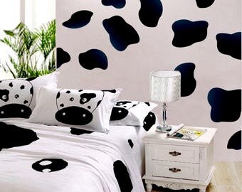 Black Cow Spot Decal Cow Print Wallpaper Cow Skin Peel And Stick Wall  Murals Removable Cow