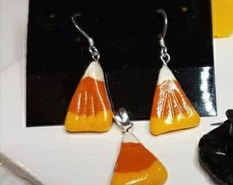 Candy Corn Earrings and Necklace set