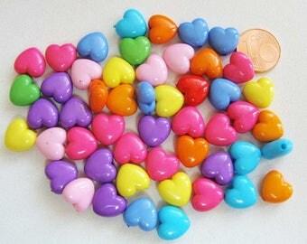 50 perles COEUR 11x6mm Acrylique MIX Couleurs RES-42 Création bijoux