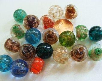 20 Perles Verre rondes 12mm Lampwork touches dorées couleurs aléatoires