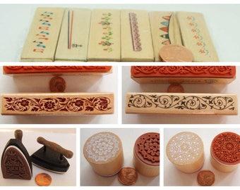 Tampons bois frise bordure déco Merci modèle au choix DIY scrapbooking carterie
