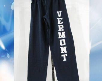 Vermont Sweatpants // 8oz // White Vermont on Navy Sweatpants // Vermont Sweatpants // Vermont clothing // 802 clothing // Lovermont