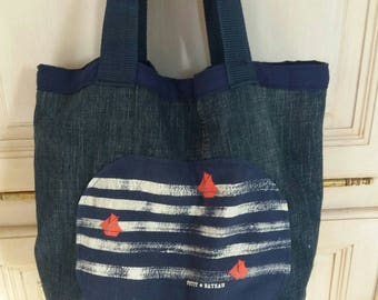 Boat little upcycled denim bag