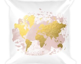 Travel Gift, World Map Pillow, World Map Decor, Travel Throw Pillow, Nursery, Throw Pillow, Map Decor, World Map, Home Decor, Travel Decor