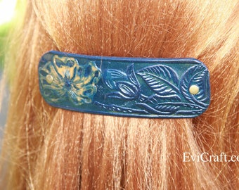 Large blue colour Leather french hair barrette, clip, fashion, accessory, hand paint  embossed flower leaves, brown or black