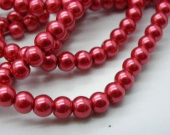 150 beads 6 mm glass Pearl 6 mm with 6 mm tomato red