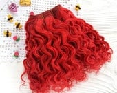 """mohair weft curly Red poppy, doll hair, 157-200"""" (4-5 m), 100 g"""