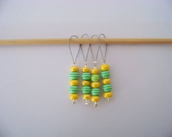 Fun beaded Stitch Markers - set of 4 - knit knitting charms,  stitch markers