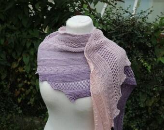 """Shawl Knitting PATTERN PDF, Knitted Shawl Pattern, Lace Shawl Wrap, asymetrical Shawl """"Marin"""""""
