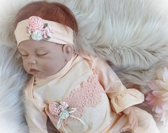 Baby Girl Coming Home Outfit, Peach Newborn Ruffle Romper, Baby Girl Coming Home Romper, Newborn Girl Clothes