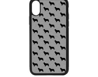 Newfoundland Dog Silheouttes Rubber Bumper Case - iPhone X 8 7 6 5 SE, Galaxy S8 S7 S6 S5 Edge Plus, pattern