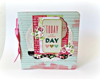 Scrapbook mini album, Love photo album, Premade album, Square album 6x6, Valentine's day gift, Memories photo book, Handmade mini album