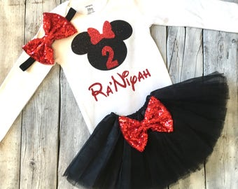 Black and red minnie mouse 2nd birthday outfit, black red minnie second birthday outfit, black and red minnie mouse, minnie mouse birthday