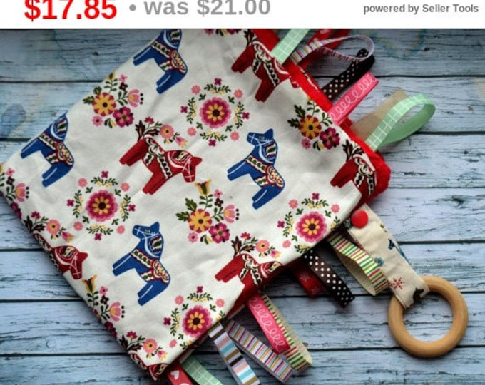 Baby tag blanket scandinavian minky tag blanket scandinavian tag blanket red sensory toy baby boy girl blanket wooden ring newborn taggie