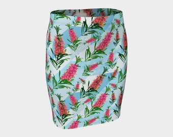 Beautiful Blue and Pink Australian Native Floral Fitted Skirt