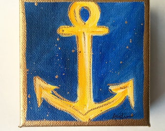 ORIGINAL Anchor PAINTING on deep Canvas, Acrylic Gold Leaf, Original Art, Beach Nautical Gift, Audrastyle Impressionism Abstract Mini Navy
