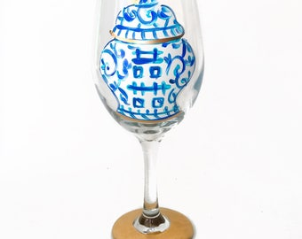 Ginger Jar Wine Glass / Custom Hand Painted Glassware /  Audrastyle / Chinoiserie Blue White Porcelain / Double Happiness