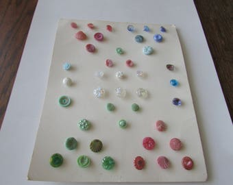 Vintage Luster Glass Button Estate Collector Card 42 Buttons Pink Blue Green Clear