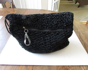Vintage Black Mohair Muff Purse Lucite Pull