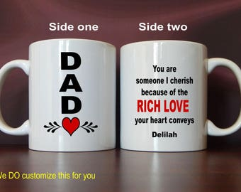 Custom Coffee Mug, Dad Cup Gift from Daughter, Personalized Dad Valentine Gift, Dad Birthday Gift, Father's Day Gift, Gift for Dad, MDA007