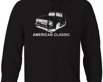American Classic Ford F100 Delivery Panel Truck Hooded Sweatshirt- U184
