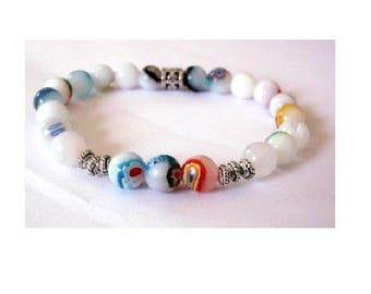 Bracelet white glass lampwork beads