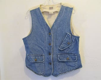 A Vintage 80's,2-Tone Blue DENIM & Canvas Type Button Front AVANTE GARDE era Vest by STEFAN0.L