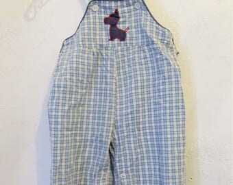 Adorable Vintage 40/50's era,Checkered Blue & White Gingham BIBBIES With Scottie Embroidery.18mo