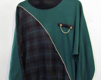 A CHEESY Vintage 80's,Part Plaid CHRISTMAS Time AVANTE GaRDE Top.xl