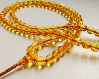 GOLDEN LIGHT - 108 beads baltic amber mala for meditation (size Ø7 colour 3)