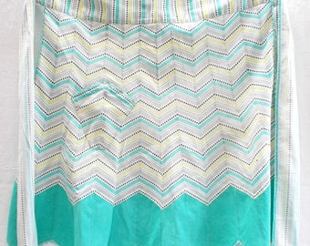 Vintage French Hand Made Apron. Flared Panels of Zig Zag Cotton.   1950's Ric Rac